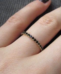 Sale - Stackable Black Eternity Ring, Black Stones Infinty Ring