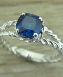 Sapphire Engagement Ring, Cushion Sapphire Braided Rope Engagement Ring