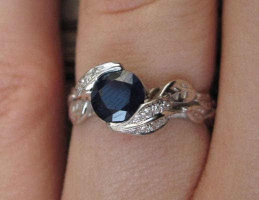 Sapphire Engagement Ring, Leaf Sapphire Engagement Ring