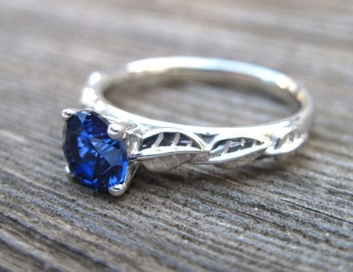 Sapphire Engagement Ring, Leaves Engagement Ring