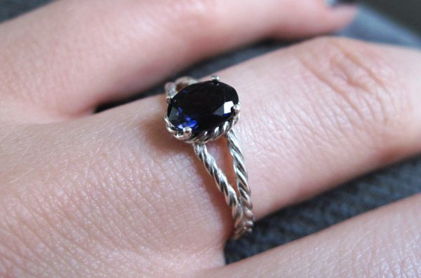Sapphire Engagement Ring, Oval Sapphire Braided Rope Engagement Ring
