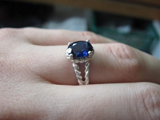 Sapphire Engagement Ring, Oval Sapphire Rope Engagement Ring