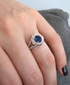 Sapphire Halo Engagement Ring, Sapphire Braided Rope Engagement Ring