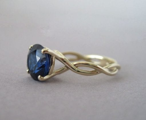 Sapphire Infinity Engagement Ring, Blue Gemstone Engagement Ring