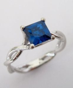 Sapphire Infinity Engagement Ring, Square Sapphire Engagement Ring