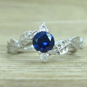 Sapphire Leaf Engagement Ring, Leaf Engagement Ring