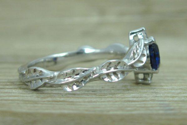 Sapphire Leaf Engagement Ring, Leaf Engagement Ring