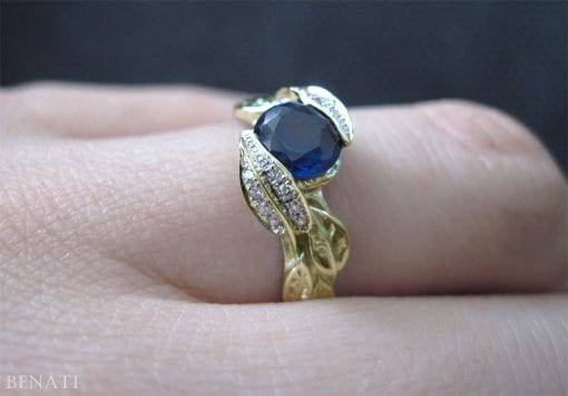 Sapphire Leaf Engagement Ring, Leaf Sapphire Engagement Ring