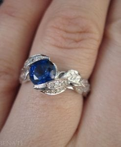Sapphire Leaf Engagement Ring, Leaf Sapphire Ring