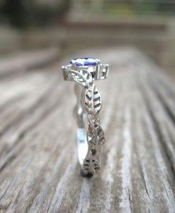 Sapphire Leaf Engagement Ring, Leaf vintage