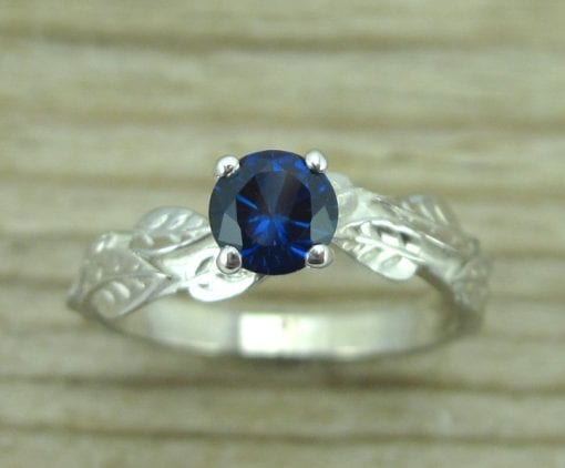 Sapphire Leaf Engagement Ring, Leaves Sapphire Engagement Ring