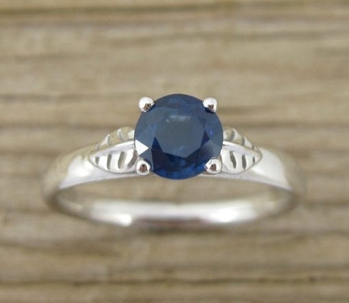 Sapphire Leaves Engagement Ring, Sapphire Promise Leaf Ring