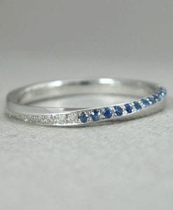 Sapphire mobius wedding ring, Diamond mobius ring
