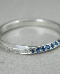 Sapphire mobius wedding ring, Diamond mobius ring