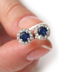 Sapphire solid gold stud earrings, Sapphire diamond stud earrings