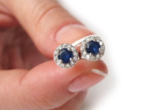Sapphire solid gold stud earrings, Sapphire diamond stud earrings