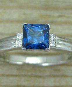 Sapphire Vintage Engagement Ring, Antique Sapphire Engagement Ring