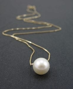 Single pearl gold necklace, Pearl gold necklace