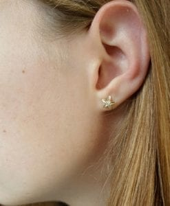 Stud Gold Flower earrings, Diamond Flower Earrings