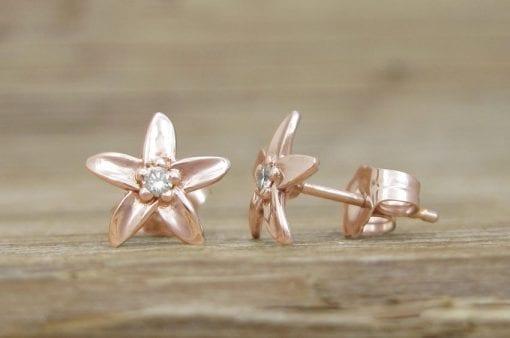 Stud Gold Flower earrings, Diamond Flower Earrings