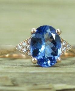 Tanzanite Engagement Ring, Rose Gold Antique Tanzanite Ring