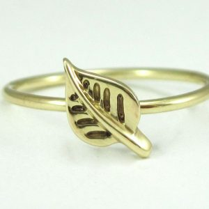Thin gold ring, Gold leaf stacking ring