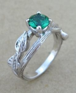 Twig Emerald Engagement Ring, Leaves Emerald Engagement Ring