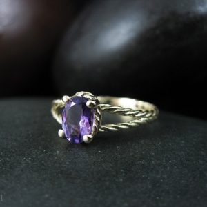 Twisted Rope Amethyst Ring, Rope Engagement Ring