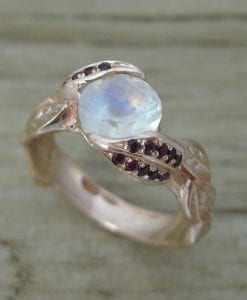Unique Engagement Ring with Ruby's, Ring With Moonstone