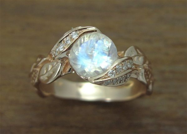 Unique Moonstone Leaves Engagement Ring, Natural Leaves Ring With Moonstone