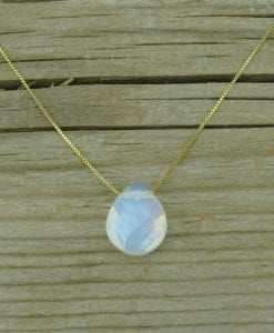 valentine's gift ,Moonstone opal pear cut gold necklace