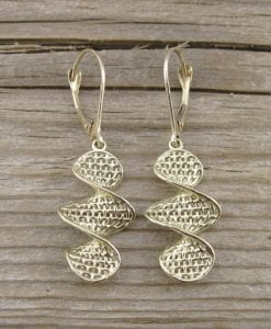 Weaved Gold Drop Earrings, Gold Hanging Earrings
