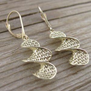 Weaved Gold Drop Earrings, Gold Hanging Earrings