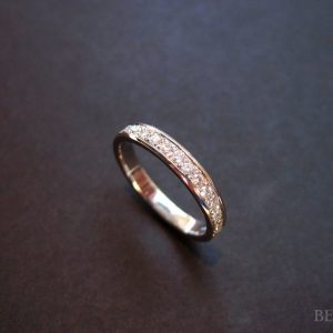 Wedding Eternity Diamond bend- Diamonds Go HALF Way, 14k Gold Wedding Ring With Diamonds