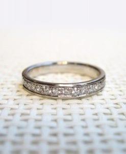 Wedding Eternity Diamond bend- Diamonds Go HALF Way, 14k Gold Wedding Ring With Diamonds