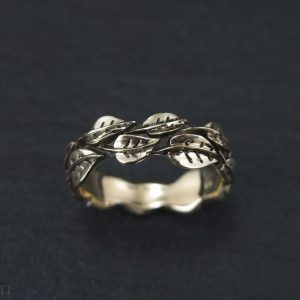 Wedding Leaf Ring, Gold Leaf Wedding band