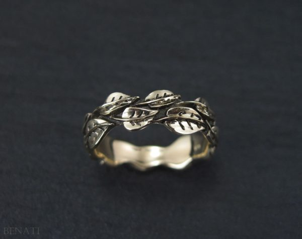 Wedding Leaf Ring, Gold Leaf Wedding band