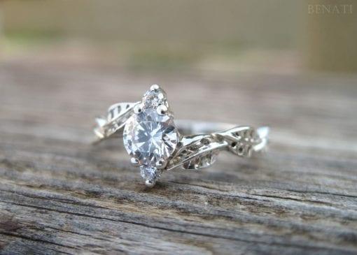 Wedding Set Bands, Set Leaf Engagement Ring