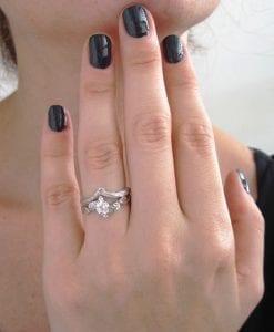 Wedding Set Bands, Set Leaf Twig Engagement Ring