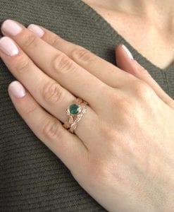 Wedding Set, Leaf Ring Set