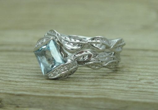 Wedding Set, Leaf Ring Wedding Set