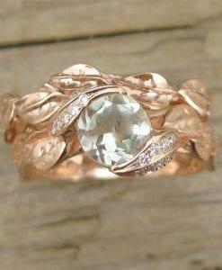 Wedding Set, Rose Gold Engagement Ring Set