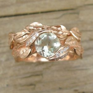 Wedding Set, Rose Gold Engagement Ring Set