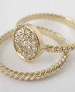 Wedding Set, Twisted Rope Diamond Ring Set