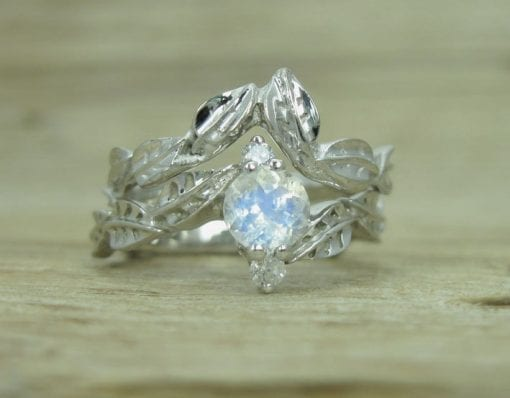 Wedding Set with Moonstone Leaf Engagement Ring, Bridel Set Leaf Ring