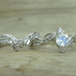 Wedding Set with Moonstone Leaf Engagement Ring, Bridel Set Leaf Ring
