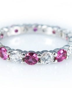 White Gold Diamond Eternity Band, Pink Sapphire Diamond Eternity Ring