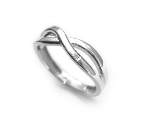 White gold infinity knot ring, Infinity ring with diamond