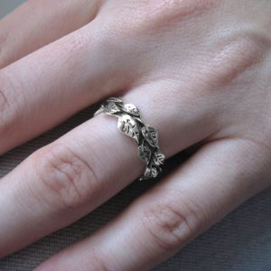 White Gold Leaf Wedding Band, Leaves Wedding Ring