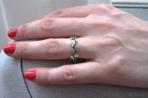 White Gold Leaf Wedding Band, Leaves Wedding Ring